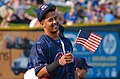 Cheslor Cuthbert checking out a flag (18778561583).jpg