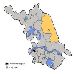 Yancheng is highlighted on this map