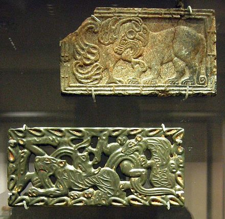 Chinese jade and steatite plaques, in the Scythian-style animal art of the steppes. 4th to 3rd centuries BC. British Museum ChineseJadePlaques.JPG