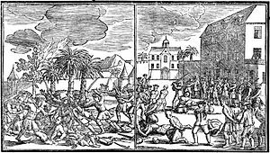 Two black and white drawings of events during the massacre. At left, ethnic Chinese appear to kill Dutch soldiers while homes burn in the background. At right, the Dutch execute Chinese prisoners in a courtyard.