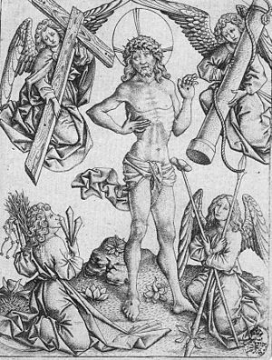 Arma Christi - Image: Christ as Man of Sorrows between Four Angels