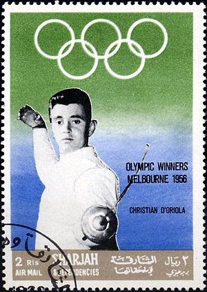 Christian d'Oriola - Christian d'Oriola on a 1968 stamp of Sharjah (United Arab Emirates)