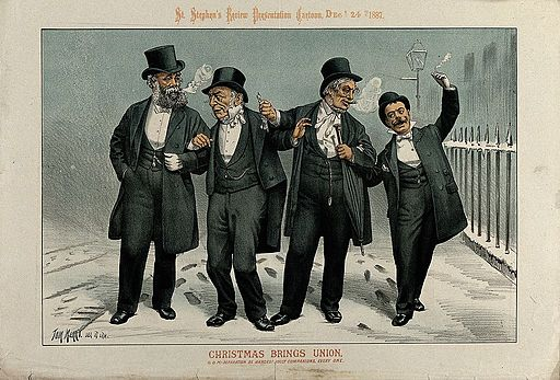 Christmas Brings Union, cartoon, 24 December 1887 Wellcome V0050354