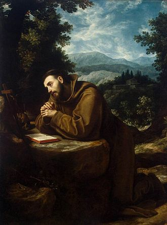 Stigmata - Saint Francis of Assisi contemplating the wounds of stigmata as part of the Imitation of Christ.