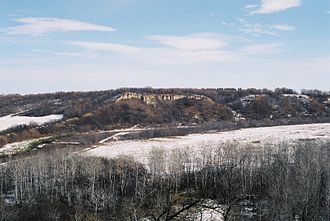 Manitoba - First Nations would stampede American bison over these cliffs, near Cartwright, Manitoba.