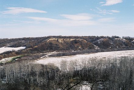 First Nations would stampede American bison over these cliffs, near Cartwright, Manitoba. Clay banks.jpg