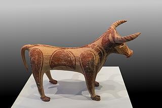 Minoan terracotta bovine figurine