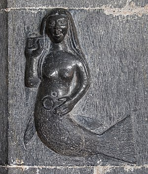 Merrow - Irish mermaid (bas-relief, Clonfert Cathedral).