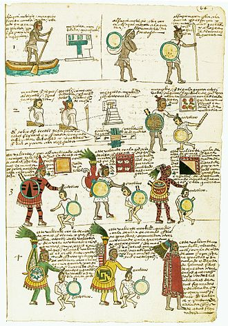 Aztec - folio form the Codex mendoza showing a commoner advancing through the ranks by taking captives in war, each attire can be achieved by taking a certain number of captives