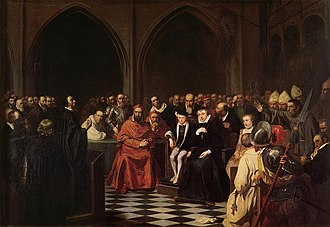 Colloquy of Poissy - Painting by Joseph Nicolas Robert-Fleury