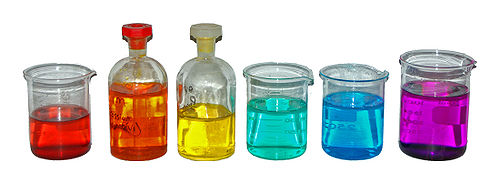 From left to right, aqueous solutions of: Co(NO 3) 2 (red); K 2Cr 2O 7 (orange); K 2CrO 4 (yellow); NiCl 2 (turquoise); CuSO 4 (blue); KMnO 4 (purple). Coloured-transition-metal-solutions.jpg