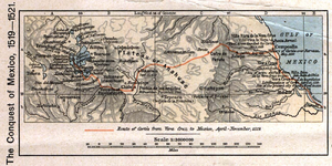 Hachure map - A hachure map depicting Cortes' invasion route of Mexico.