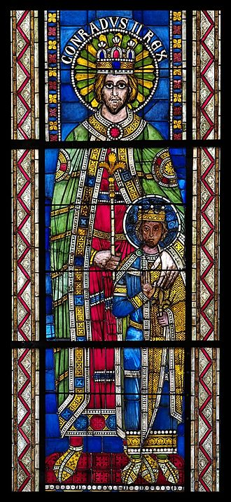 Conrad II, Holy Roman Emperor - 12C stained glass depiction of Conrad II and an imperial prince, Strasbourg Cathedral