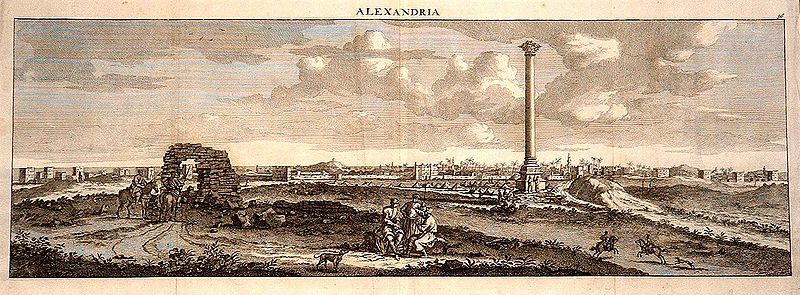 File:Cornelius de Bruyn, view of Pompey's Pillar with Alexandria in the background, 1681.jpg