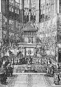Coronation of Louis XIV of France in the Cathédrale Notre-Dame de Reims in 1654 (Almanach royal).jpg