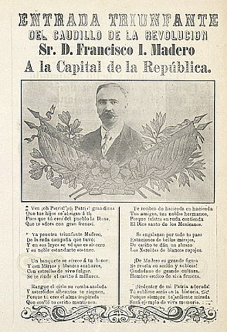 Corrido - Corrido sheet music celebrating the entry of Francisco I. Madero into Mexico City in 1911.