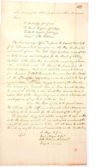 Nathanael Greene - The Council of War letter (this copy made contemporaneously with original) that Greene sent of the proceedings to Samuel Huntington, the president of Congress. Written at Guilford Court House on February 9. 1781. This is a scan of the photograph from the National Archives.