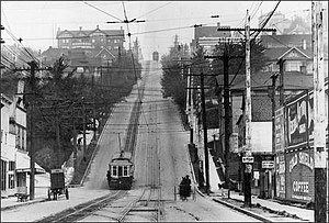 Lower Queen Anne, Seattle -  Cable car on the Counterbalance section of Queen Anne Hill.