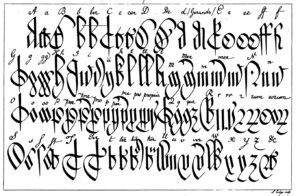 Court hand - Court hand: alphabet (upper-cases and lower-cases) and some syllable abbreviations