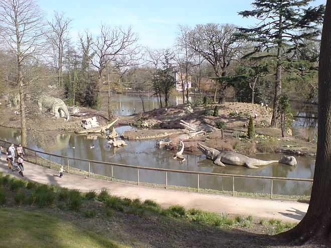 The dinosaur area of Crystal Palace Park Crystal Palace Dinosaurs overview.jpg