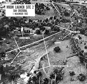 Missile launch facility - A Soviet MRBM base, photographed during the Cuban Missile Crisis. The inability of ground based launch complexes like this one to move makes them susceptible to discovery and long term monitoring by airborne and/or space-based surveillance systems, resulting in a push from some nuclear capable nations to place a greater number of their weapons on more mobile platforms, such as ballistic missile submarines or transporter erector launchers.