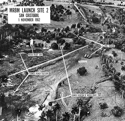 RF-101 Voodoo reconnaissance photograph of the MRBM launch site in San Cristobal, Cuba (1962) Cuban missiles.jpg