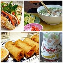 Fotografias de um prato de macarrão phở, uma sobremesa de frutas chè thái, um rolinho primavera chả giò e um sanduíche bánh mì