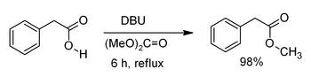 Methylation of phenylacetic acid by dimethyl carbonate promoted by DBU