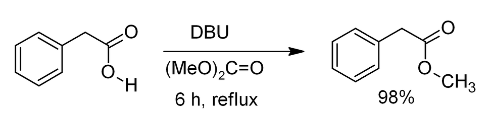 Methylation of phenylacetic acid by dimethyl carbonate promoted by DBU