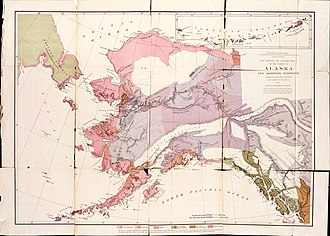 William Healey Dall -  Dall's 1875 map showing the distribution of native tribes in Alaska