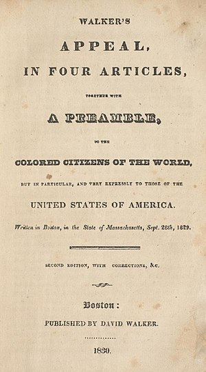 David Walker (abolitionist) - Title page of the 1830 edition of Walker's Appeal...to the Colored Citizens of the World.