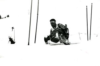Australia at the 1992 Winter Paralympics - Example of sit skiing by Michael Norton