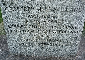 Geoffrey de Havilland - De Havilland Memorial Stone near Seven Barrows Field and Beacon Hill from A34