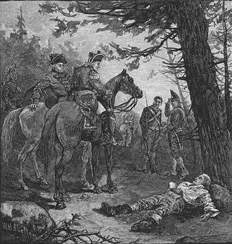 Johann de Kalb - An engraving showing the wounded Baron de Kalb