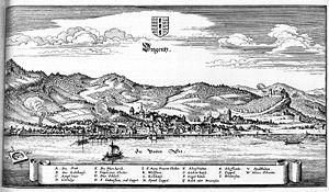 Bregenz - Bregenz, Chalcography by Caspar Merian, about 1650