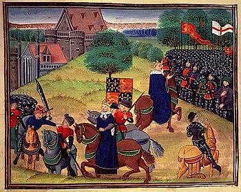 William Walworth kills Wat Tyler, Richard II watches and then speaks to the insurgents.  (Illustration around 1390)