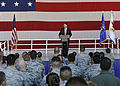 Defense.gov News Photo 101117-F-6655M-006 - Deputy Secretary of Defense William J. Lynn III talks to airmen in a hangar on the flight line of Luke Air Force Base, Ariz., on Nov. 17, 2010.jpg