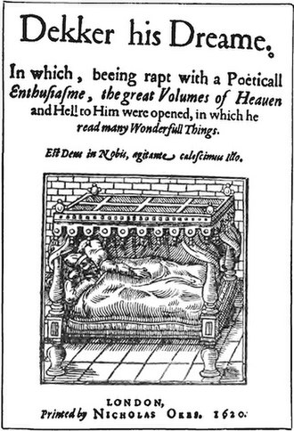 Thomas Dekker (writer) - Thomas Dekker lying in bed, from the title page of Dekker his Dreame (1620)