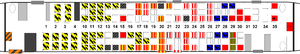 Delta Air Lines Flight 1141 - Seating chart for Flight 1141 including occupant survival and, if known, egress route. Click to enlarge and see legend.