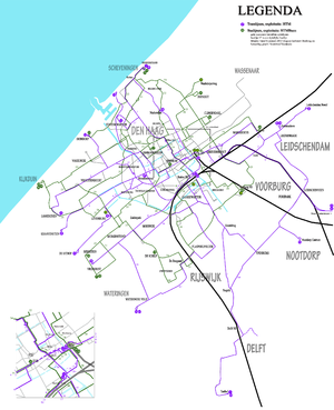 Trams in The Hague - The Hague tramway network, 2013.
