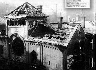 Aryanization - A ruined synagogue in Munich after Kristallnacht