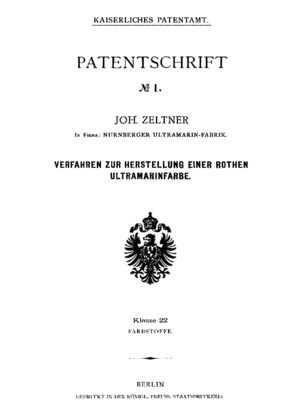 Deutsches Patent- und Markenamt - Cover of the first German patent.