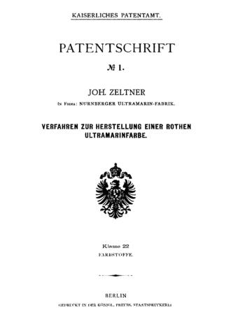 Deutsches Patent- und Markenamt - Cover of the first German patent.