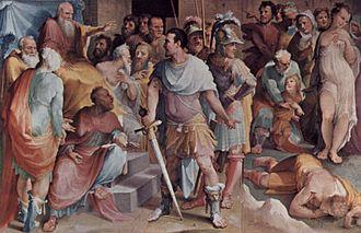 Lucius Quinctius Cincinnatus - Beccafumi's Ahala, Master of the Horse, Presents the Dead Maelius to Cincinnatus, a fresco in Siena's Public Palace