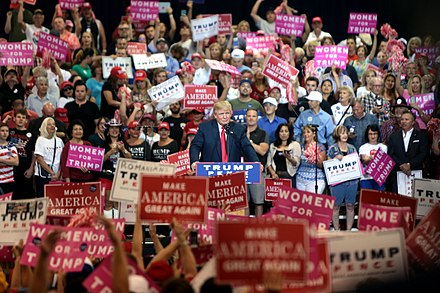 Trump campaigns in Phoenix, Arizona, October 29, 2016 Donald Trump with supporters (30354747180).jpg