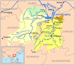 Mapa do Lago Dongting