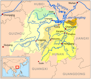 Dongting Lake - Map showing Lake Dongting and the major rivers flowing into it