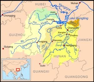 Yuan River - Map showing the Yuan River basin