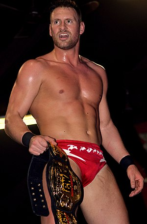 Donovan Dijak - Dijak with the CW Heavyweight Championship belt