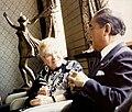 Doris Twitchell Allen, founder of CISV, with the Japanese Prime Minister Nakasone in 1987.jpg